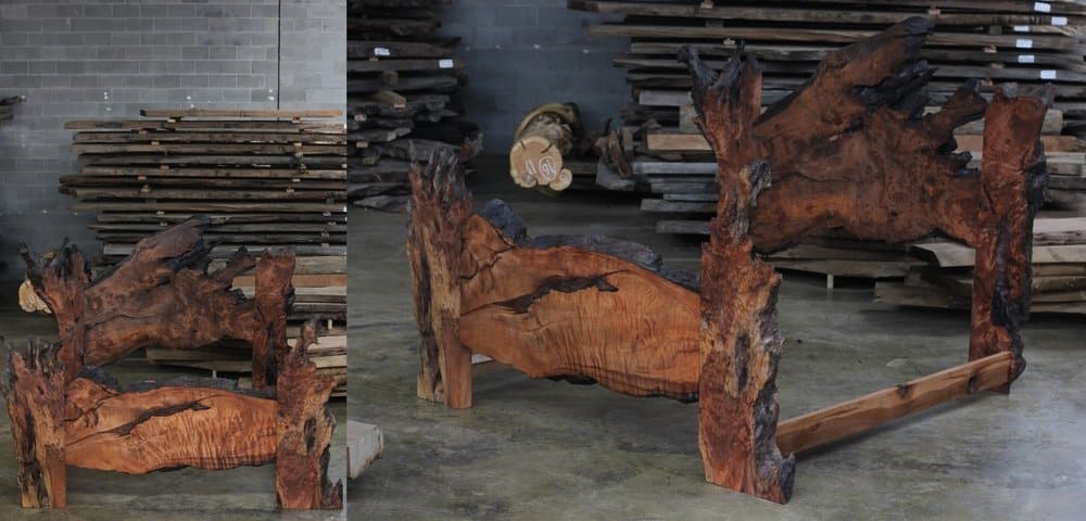 Live Edge burl wood slab bed