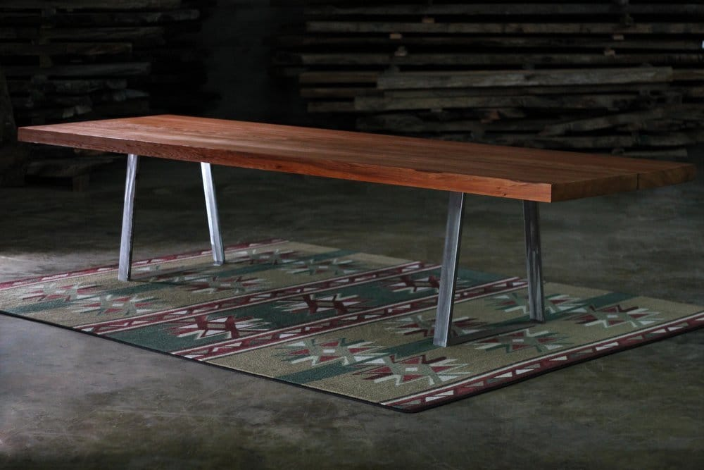 Rustic Dining Table with Redwood and Metal Trestle Base | Littlebranch Farm