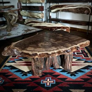 wood slab coffee table